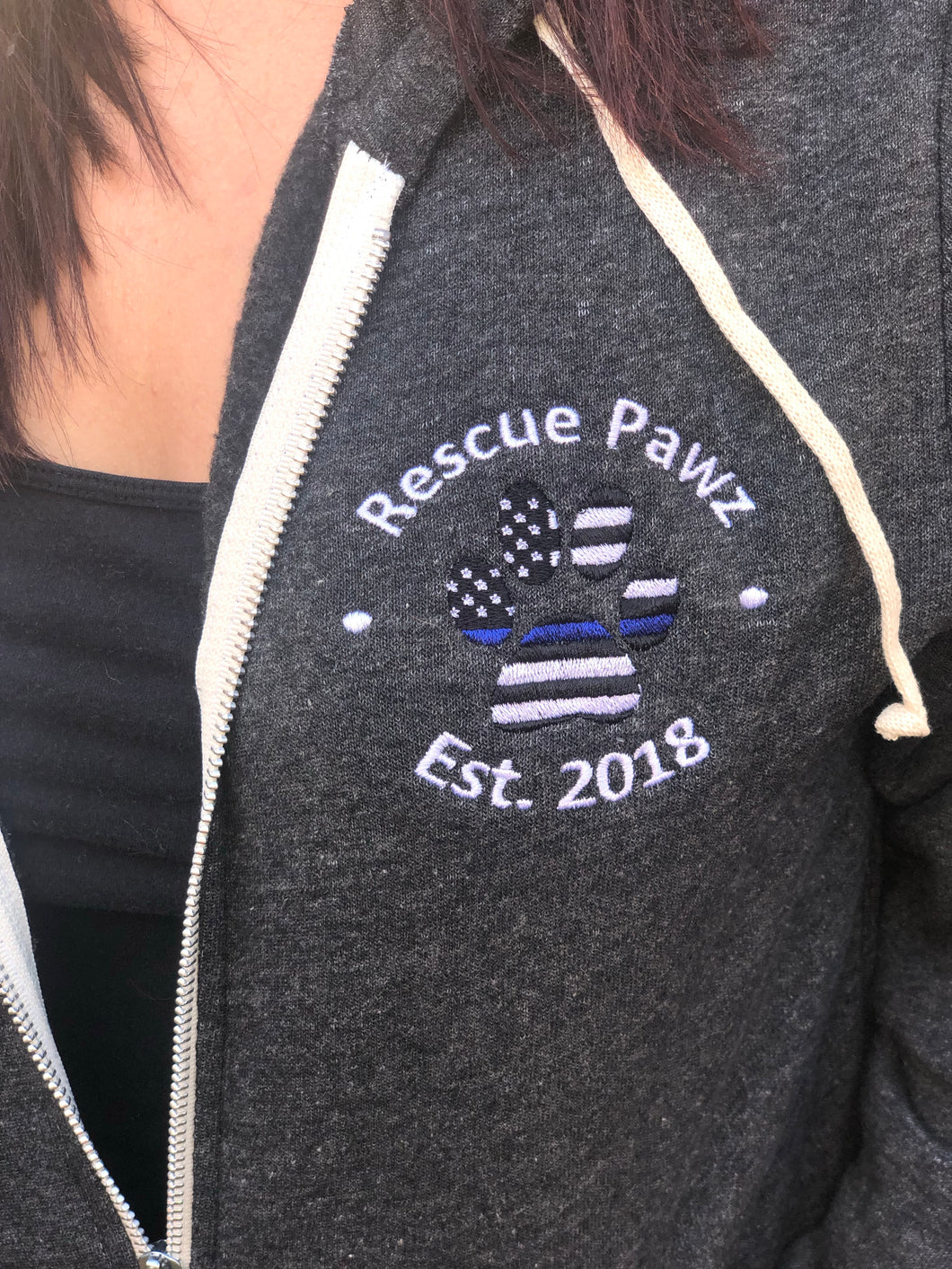 Embroidered Thin Blue Line Zip Up Hoodie