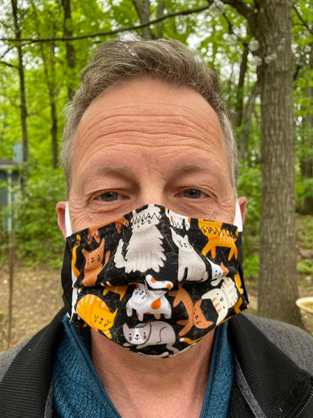 """ANIMAL-CATS: Kitties on Black"" - Fabric Face Mask w/ Filter Pocket & Nose Strip"