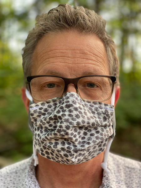 """Animal Print: Gray"" - Fabric Face Mask w/ Filter Pocket & Nose Strip"