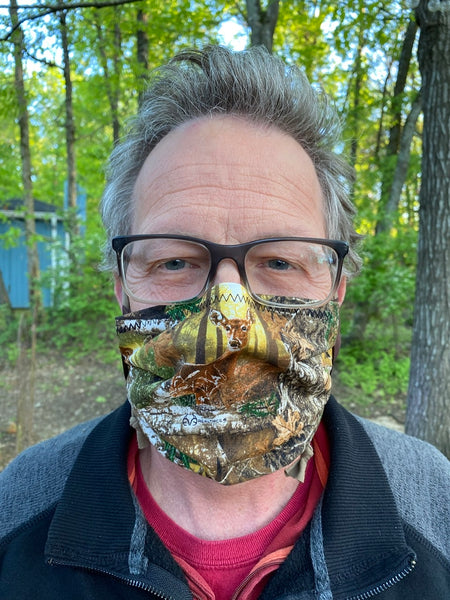"""ANIMAL: Deer Camouflage"" - Fabric Face Mask w/ Filter Pocket & Nose Strip"