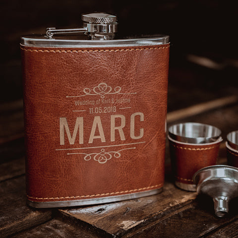 personalised gifts, custom engraved gifts, gift ideas, unique gifts, engraved hip flask, leather hip flask