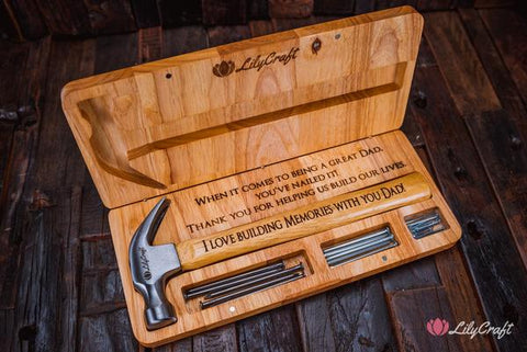 hammer gift set, gift for dad, fathers day gift, laser engraved gifts, personalised hammer set, personalized hammer gift set, hammer with nails for dad