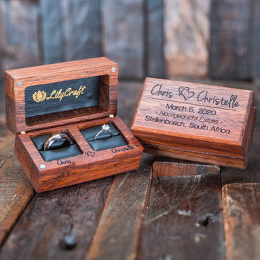 double ring box, handmade wooden ring boxes