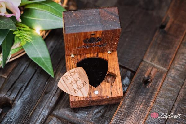 engraved guitar pick with gift box