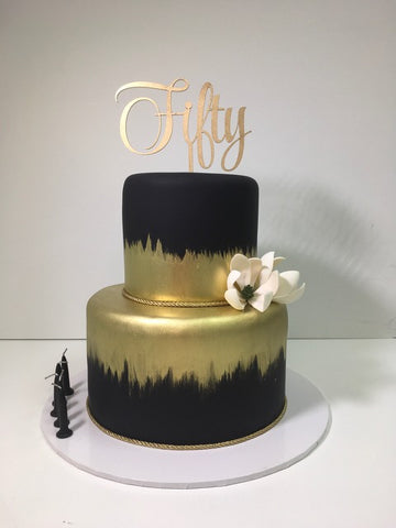 Fifty Cake Topper, Gold Cake Topper, Laser Cut Cake Topper, Birthday Cake Topper