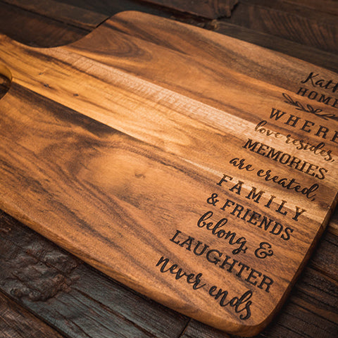 laser engraved chopping board, serving board, cheese board, cutting board, personalised cheese board, custom chopping board