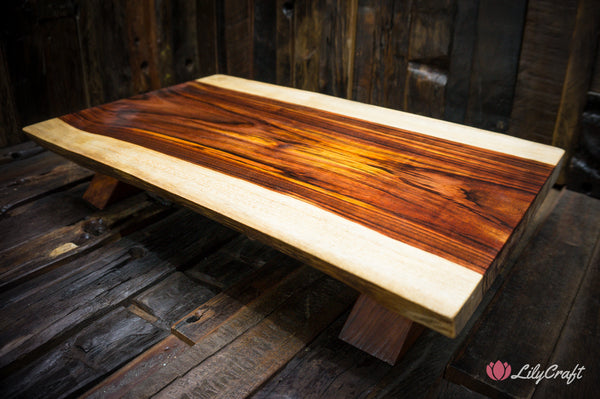 wooden cheeseboard with legs