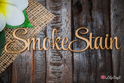 lilycraft natural wood smoke stained colour for wedding cake toppers and place names