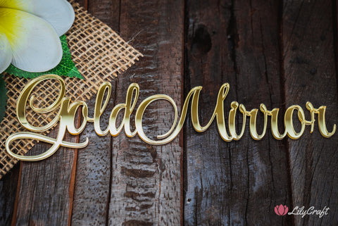 lilycraft mirror gold acrylic cake topper colour for wedding cake toppers and place names