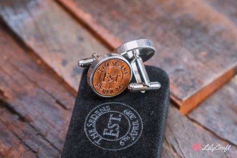 silver and wooden engraved cufflinks