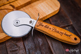 Pizza Cutter - Premium Quality Engraved Pizza Wheel with personalised wooden gift box