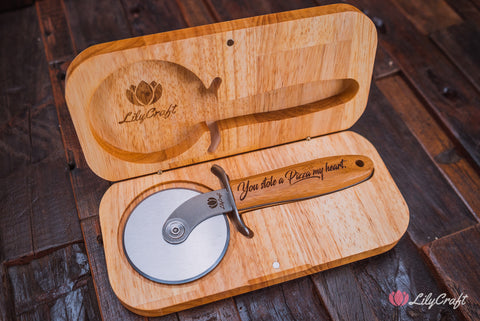 premium luxury pizza cutter with wooden gift box