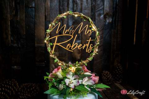modern wreath wedding cake topper