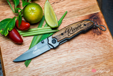 lilycraft personalised pocket knives, engraved cutting board