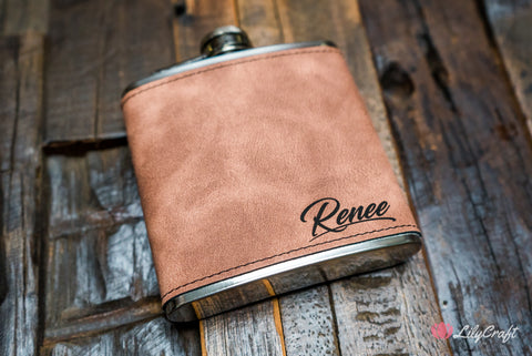 Leather Liquor Hip Flask Personalized Gift Set