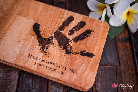 hammer gift box engraved with childs actual hand print