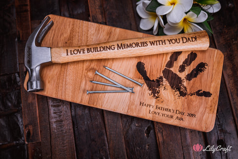 hammer gift set with child hand print engraved