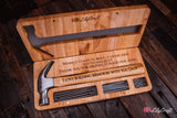 Hammer Gift Set Engraved with actual hand print scan of your child. Personalised Engraved Fathers day gift hammer.