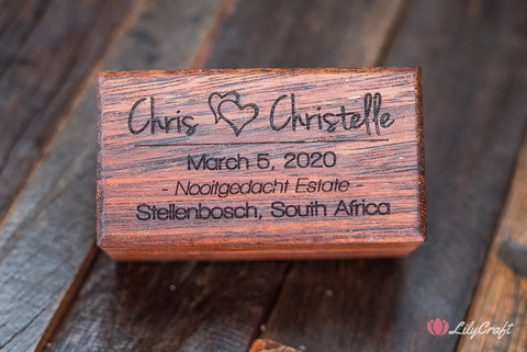 laser engraved wedding ring box made of hardwood