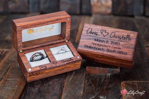engraved wedding ring case to fit two rings