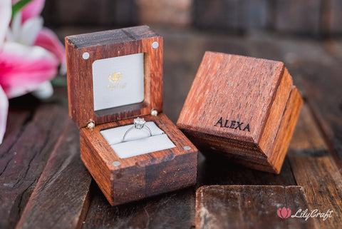 Engagement Ring Box. Wooden Engraved Wedding Proposal Ring Box.