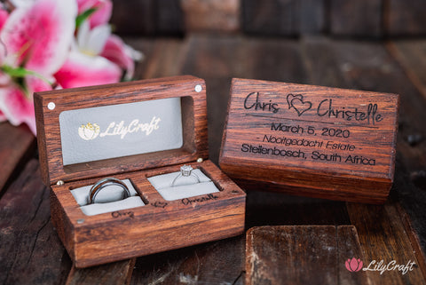 engraved double wedding ring box made of wood and white leather