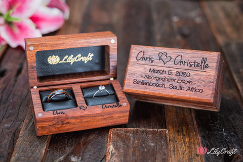personalized wedding ring box with wood and black leather