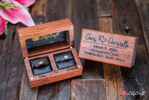 wooden jewelry ring box for two rings