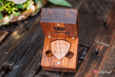 wooden guitar pick with wooden gift box for dad fathers day gift
