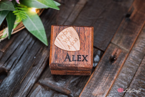 custom engraved guitar pick with wooden box