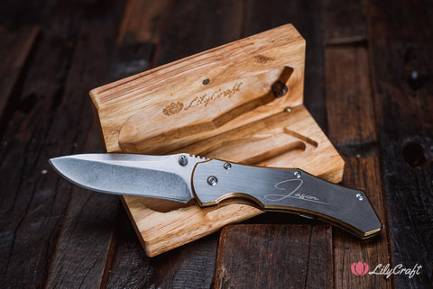 Folding Metal Pocket Knife with Personalized Wooden Gift Box