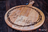 Engraved Cheese Board. Round personalized Cheese Cutting board