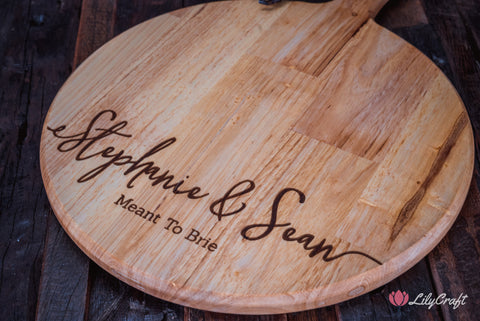 engraved wooden cheeseboard