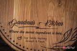 Grandmas Kitchen Personalised Cutting Board. Christmas Gift for Grandma. Best Nana Christmas Gifts