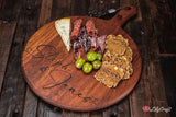 Custom Engraved Cheese Board. Personalised Round Cutting Board.