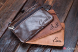 Leather Coin Purse, Personalized small wallet for women with key holder