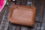 Women's leather wallet with picture holders. Ladies Leather Photo Wallet. Engraved ladies leather purse.