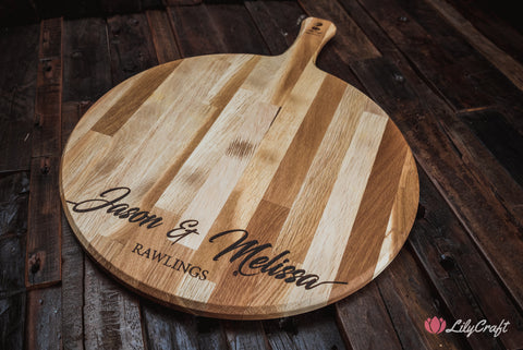 engraved oak cheese board pizza board personalised cutting board