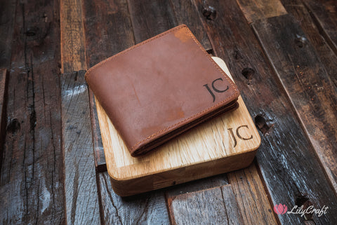 Slim Leather Wallet with wood gift case Personalized for men, fathers, groomsmen, husbands and boyfriends.