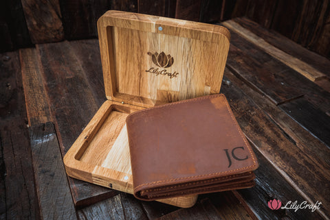 Slim Leather Wallet with oak wood gift case Personalized for men, fathers, groomsmen, husbands and boyfriends.