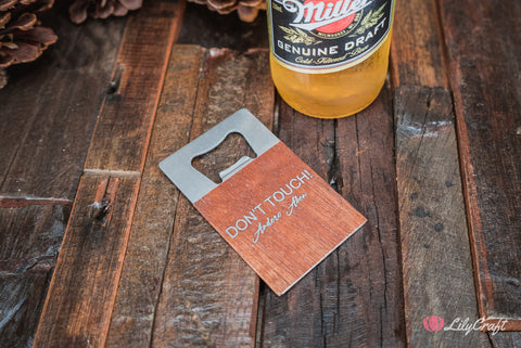 Credit Card Sized Bottle Opener. Personalised wooden beer bottle opener gifts for him.