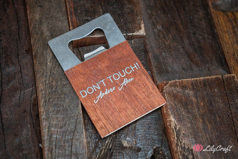 engraved bottle opener wallet sized wooden steel opener