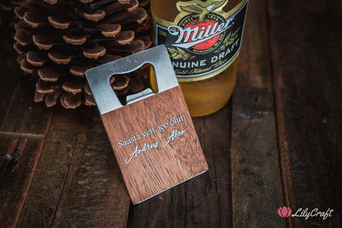 wood with silver engraving bottle opener lilycraft