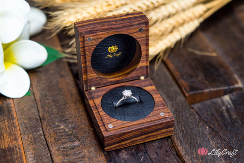 Tambotie wooden engraved engagement ring box