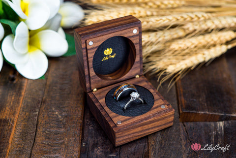 custom wedding ring box for two rings