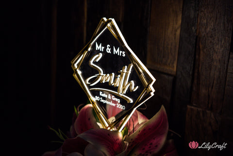 Modern LED Wedding Cake topper - Mirror Acrylic