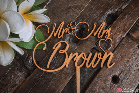 Cake Topper. Custom Mr & Mrs Surname Wedding Cake Topper, Personalised Wedding Cake Decorations, Customized Personalized Cake Sign - [BROWN FONT]