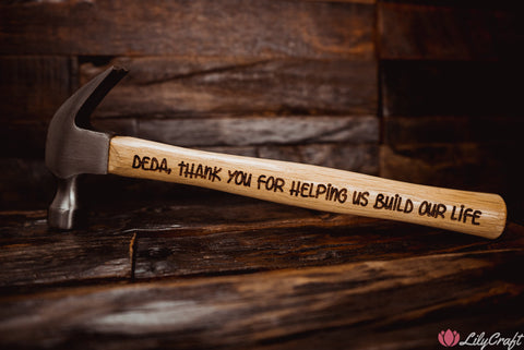 Custom Personalised Laser Engraved Hammer, Wedding Gift, Housewarming, Fathers Day, Best Man Gift, Thank you for helping us build our lives