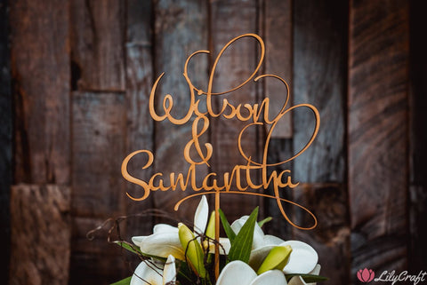 Wedding Cake Topper, Rustic Timber Cake Topper with natural smoke stain finish.