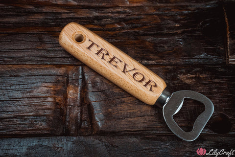 Wooden Bottle Opener, Personalised Wooden Beer Bottle Opener. Engraved Grooms Gift, Fathers Gift.